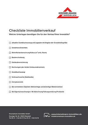 Kriemelmann Immobilien - Checkliste Immobilienverkauf