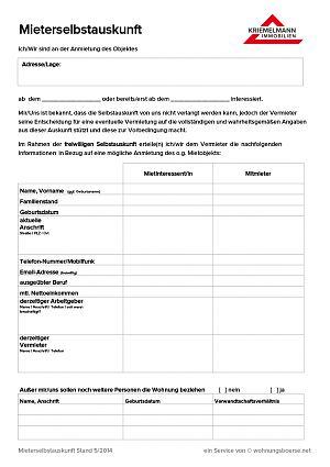 Kriemelmann Immobilien - Mieterselbstauskunft